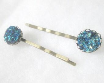 Dark Blue Faux Druzy Bobby Pins