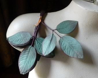 Green Silk Leaves Vintage 36 Japanese on Triple Leaf Stems for Bridal, Hat or Costume Design, Floral Supply ML 138