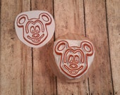 Mickey Waffle Hand Carved Rubber Stamp Breakfast Pancake Maker DIY Birthday Greeting Card Wrapping Paper Scrapbook Park Food