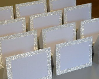 Blank Silver Glitter Double Layer Tented Place Cards - 3 x 4""