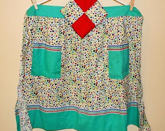 SALE! (was 14) Vintage apron with matching pot holder - red, blue, green yellow calico and zigzag