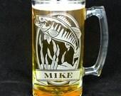 Bass Beer Mug, Personalized Gift for Man, Dad, Best Man, Groom, Usher, or Groomsman