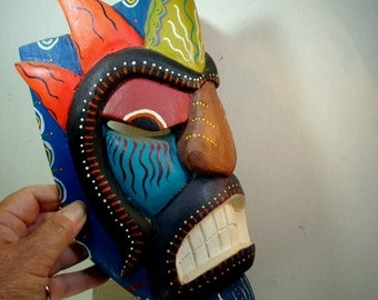 Colorful Painted Wood Mask, 1980s, TOOTHY Mans Face Brown Blue  Red Sculpture,  Ethnic Tribal Art, Tattooed Person