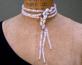 SALE, Bridal Bondage Choker,  RAINBOW Aurora Borealis Austrian Crystal Necklace, 3 Strands Faceted Adjustable, GLAMOROUS. Asymmetric Beauty