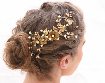 Bridal Hair Comb Rustic Gold and Bronze Wedding Hair Comb, Golden Wedding Headpiece Brassy Boho Wedding Hair Comb Gold Metal Comb
