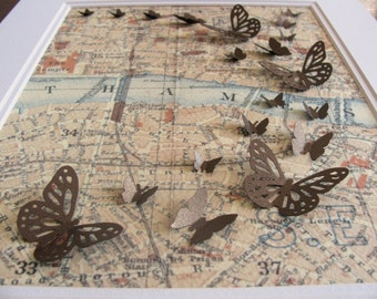 Inventory Clearance Vintage London Map 3D Butterfly Art. Olde World Map Art. Cartography. Shimmery Gold Butterflies. 8x10 inches