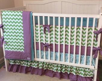 Peacock Flair Modern Baby Girl Crib Bedding Set Purple Aqua Lime Green
