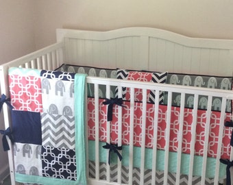 DEPOSIT Navy Gray and Coral Crib Bedding with Elephants Made to Order