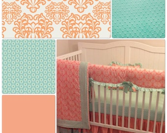 Crib Bedding Set Peach Mint Ruffled Bumperless