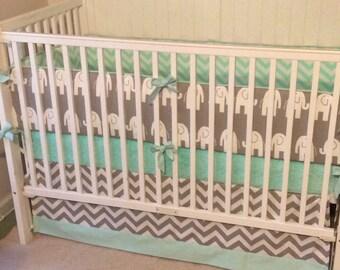 Crib Bedding Set Gray Mint Green Elephant