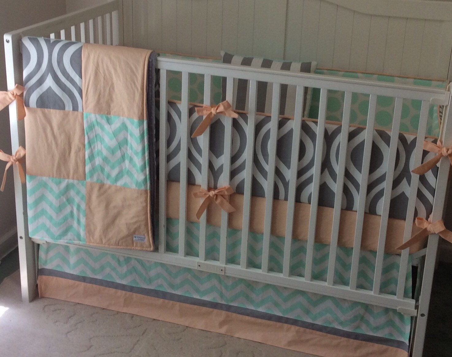 crib bedding peach gray and mint gender neutral. Black Bedroom Furniture Sets. Home Design Ideas