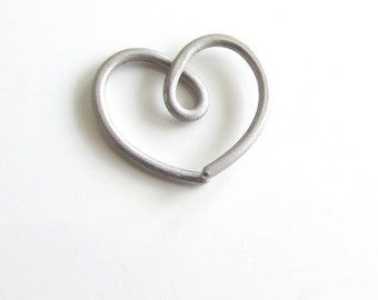 Single Titanium Heart Earring Free Shipping, For Sensitive Rook Daith Helix, One (1) Heart Earring