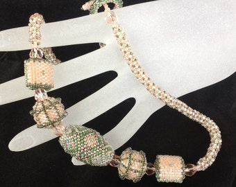 Pink and Green Beaded Bead Necklace... EBW Team