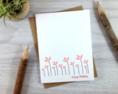 Pink Flower Birthday Card, Floral Greeting Card, Happy Birthday Card For Her, Spring Flowers