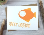 Birthday Card, Happy Birthday Card, Children's Greeting Card, Sea Creature Card, Fish Card - Single