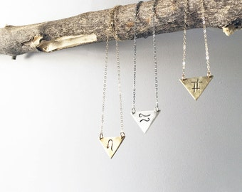 Triangle Zodiac Sign Necklace- Custom Zodiac Design in Sterling Silver or Brass.