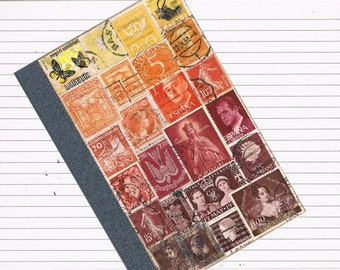 Orange Sunset Vacation Journal - Recycled Postage Stamp A6 Notebook