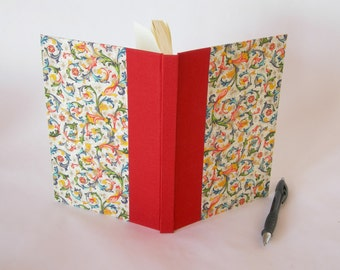 Address book large - red with multi-colored Florentine - 6x8.5 in 15x22cm -  Ready to ship