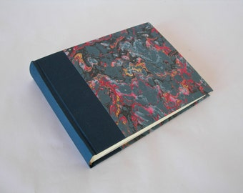 Photo album- navy cloth with French marbled paper - 6x8in 15x20.5cm  30pages - Ready to ship