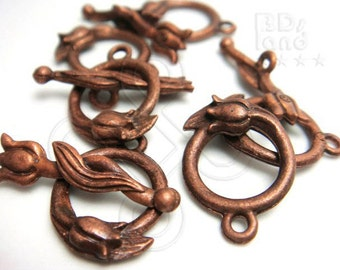 bulk -20% / B324BZ / 25Sets - Antique Copper Plated Tulip Flower Toggle Clasp / Rod n Ring Clasp