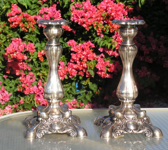 Vintage Wm A Rogers Silverplate Candlesticks Taper Candle