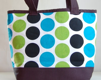 Blue Dandi Dots Fabric Tote Bag - READY TO SHIP