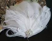 Bridal Feather Hair clip, Bridal Fascinator, Wedding Head Piece, Feather Fascinator, white feather hair clip, small feather hair clip