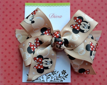 Tan and Ivory Dot Mouse Classic Diva Bow