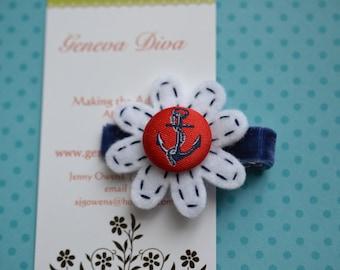 Little  Blue Anchor Felt Flower Clip