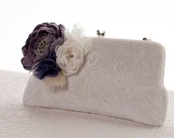 Wedding purse purple, Bridal beaded vintage clutch purse with flowers, bridal framed clutch handbag, ivory, victorian lilac, off white