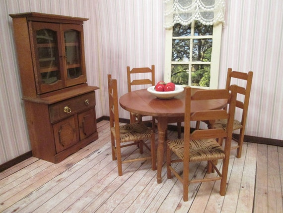 Vintage dollhouse dining room furniture round drop leaf for Dining room tables etsy