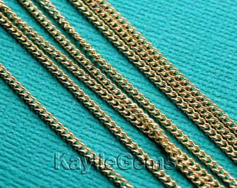 Brass Cube Chain Vintage Raw  1.5x2.2mm Link - 12ft