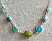 Seven Stone Statement Necklace in Blues, Yellows, and Greens