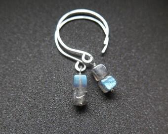 blue labradorite earrings. sterling silver dangle earings. grey stone jewelry.