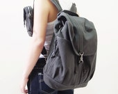 New Year SALE - 20% OFF Kinies Backpack with pouch in Dark Gray / Satchel / Rucksack / waist pouch / Women / Men / For Him / For Her