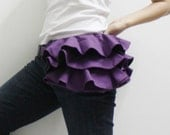 Mother's Day SALE - 20% OFF Ruffled Waist Purse in Purple / Fanny Pack / Hip Bag / Pouch / Waist Belt / Small / Women / For Her / Gift Ideas