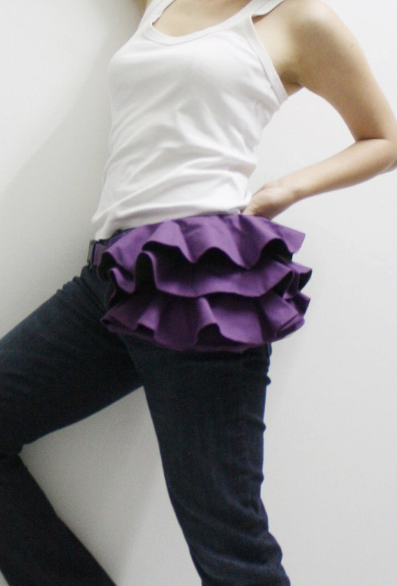 Ruffled Waist Pouch in Purple, Fanny Pack, Travel Pouch, Hip Bag, Zipper Pouch, Bridesmaid Gift, Gift Ideas for Women - RWP - SALE 30% OFF