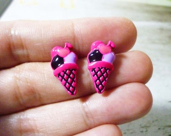SALE - Pink Ice Cream Cone Earrings