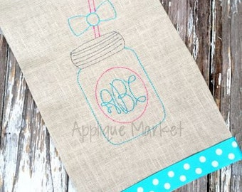 Machine Embroidery Design Mason Jar Vintage INSTANT DOWNLOAD