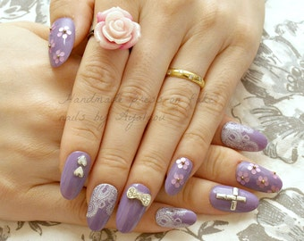 Japanese 3D nail, 3D nail, pastel goth, cross, flower, silver, purple, white, 2015 trend, nail art, bling, Harajuku, gyaru, press on nails