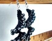 Black Spiral Macrame Earrings