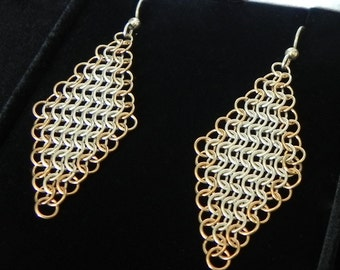Silver & Gold Fill Woven Diamond Earrings