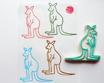 kangaroo stamp. wallaby hand carved rubber stamp. australian animal stamp. birthday christmas baby shower card making. diy gift wraps. large