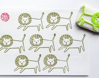 running lion stamp, lion hand carved rubber stamp, safari animal stamp, birthday scrapbooking, diy lion gift wraps cards, holiday crafts