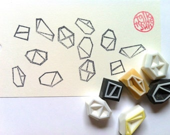 geometric rubber stamp. hand carved rubber stamp. abstract gemstones patterns. scrapbooking. gift wrapping. card making. set of 6. small