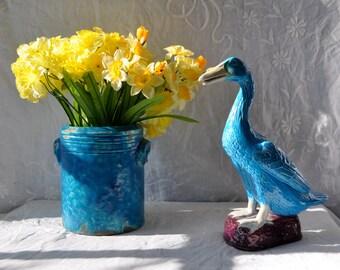 Vibrant Azure Blue Crockery/Vintage c. 1960s/French Art Pottery