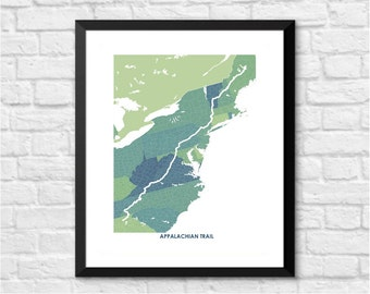 Appalachian Trail Art Map Print.  Color Options and Size Options Available.  Map of Appalachian Hiking Trail.