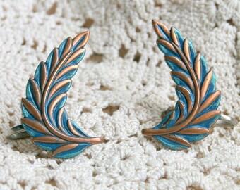 Vintage Copper and Blue Green Enamel Leaf Earrings - Screw Backs