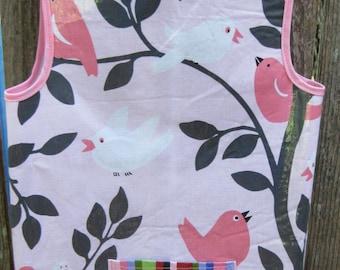 Art Smock Apron - Pink Birds Wipe Clean Vinyl Apron - Fits 2T-4T