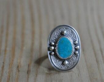 Sterling Kingman Turquoise Ring, Oxidised Metalwork Ring, Statement Gemstone Ring - Rose Window Ring in Turquoise